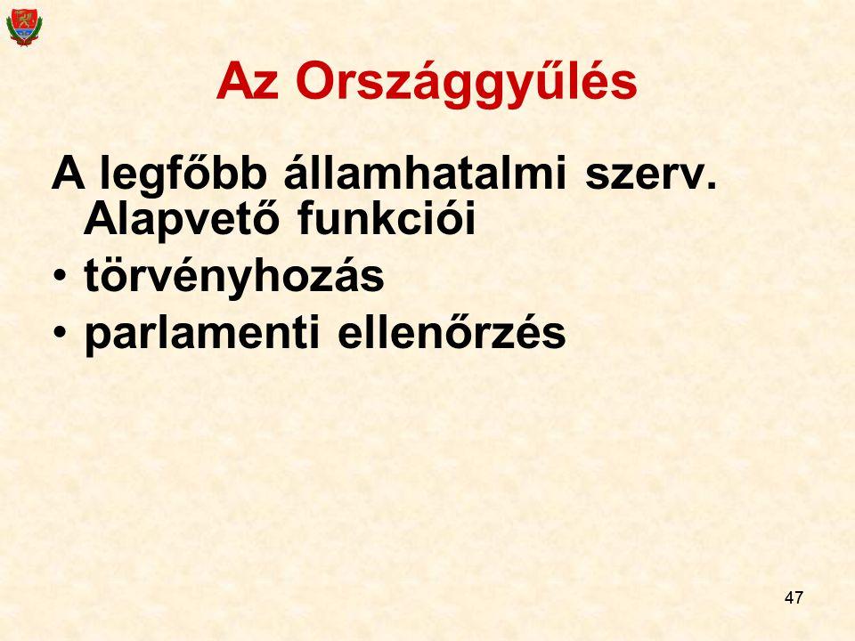 Az Országgyűlés A legfőbb államhatalmi szerv. Alapvető funkciói