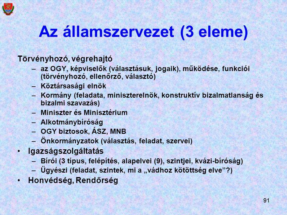 Az államszervezet (3 eleme)