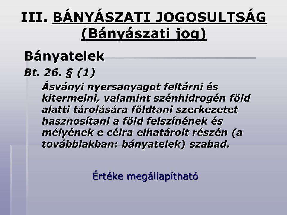 III. BÁNYÁSZATI JOGOSULTSÁG (Bányászati jog)