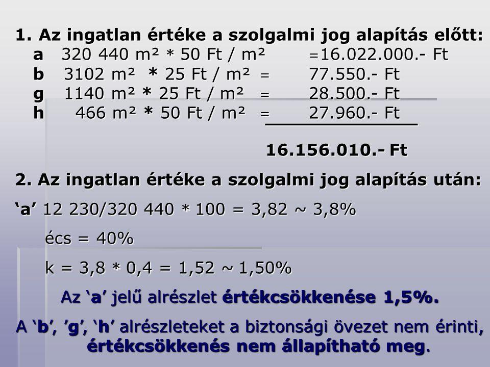 Az 'a' jelű alrészlet értékcsökkenése 1,5%.