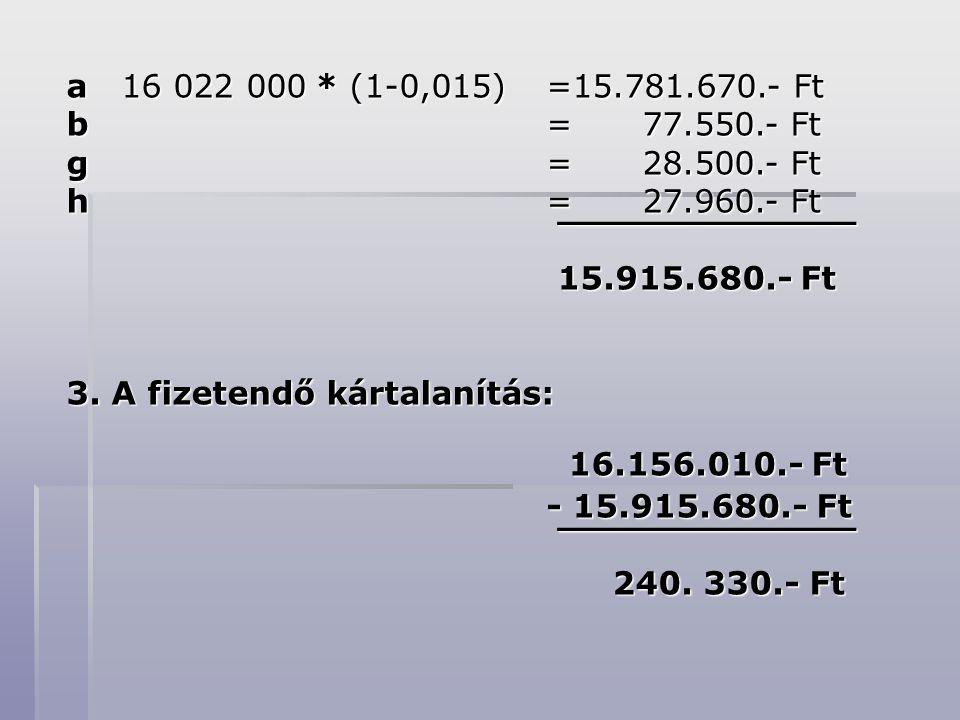 a 16 022 000 * (1-0,015) =15.781.670.- Ft b = 77.550.- Ft. g = 28.500.- Ft. h = 27.960.- Ft.