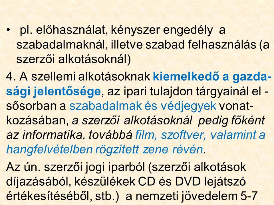 pl. előhasználat, kényszer engedély a szabadalmaknál, illetve szabad felhasználás (a szerzői alkotásoknál)