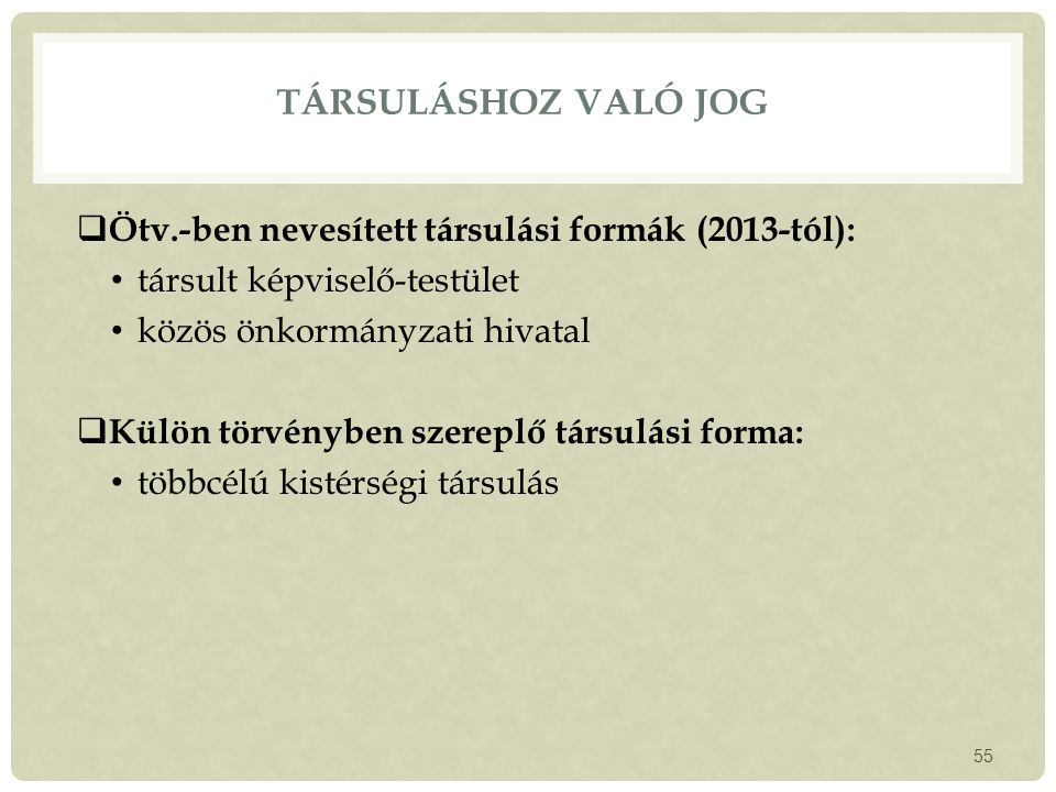 Társuláshoz való jog Ötv.-ben nevesített társulási formák (2013-tól):