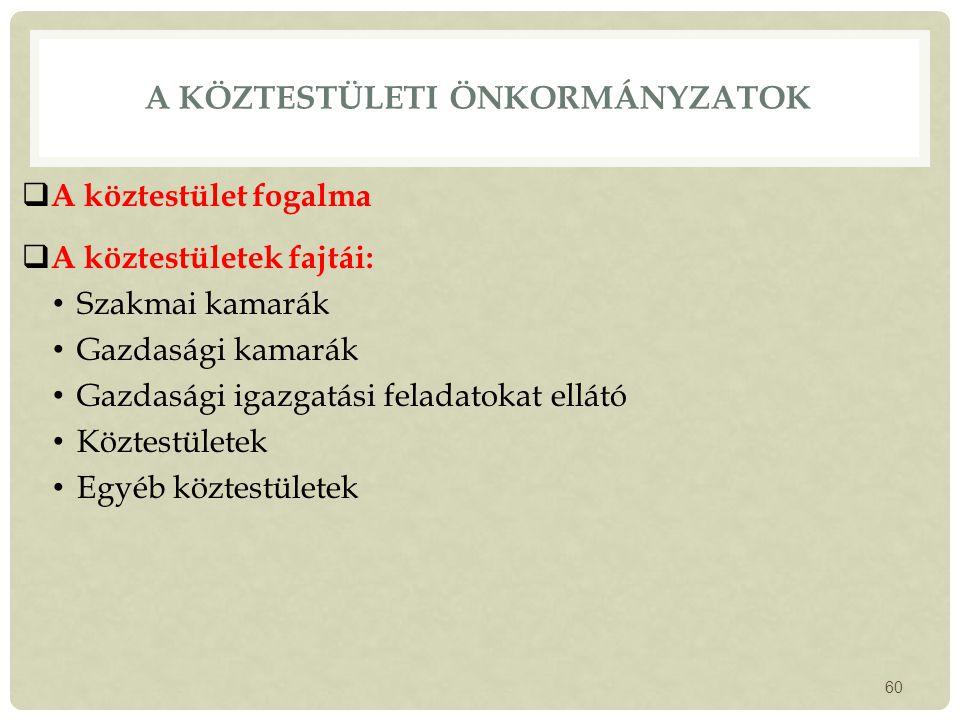 A köztestületi önkormányzatok