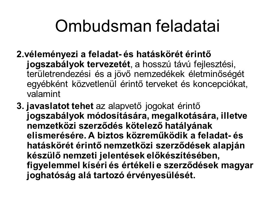 Ombudsman feladatai