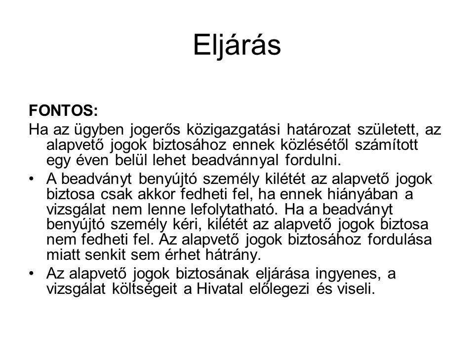 Eljárás FONTOS: