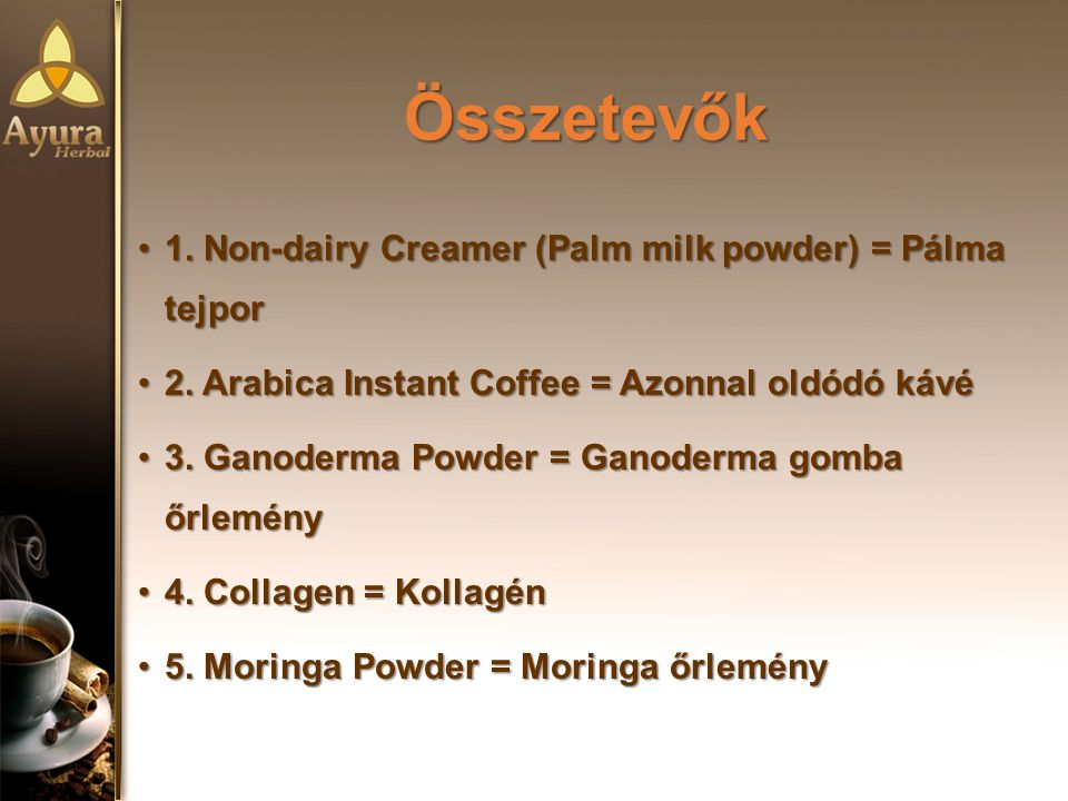 Összetevők 1. Non-dairy Creamer (Palm milk powder) = Pálma tejpor