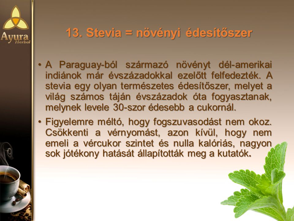 13. Stevia = növényi édesítőszer