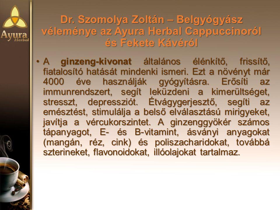 Dr. Szomolya Zoltán – Belgyógyász véleménye az Ayura Herbal Cappuccinoról és Fekete Kávéról