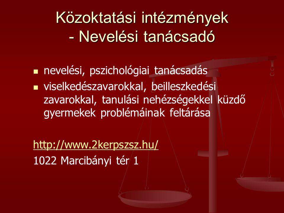 Közoktatási intézmények - Nevelési tanácsadó