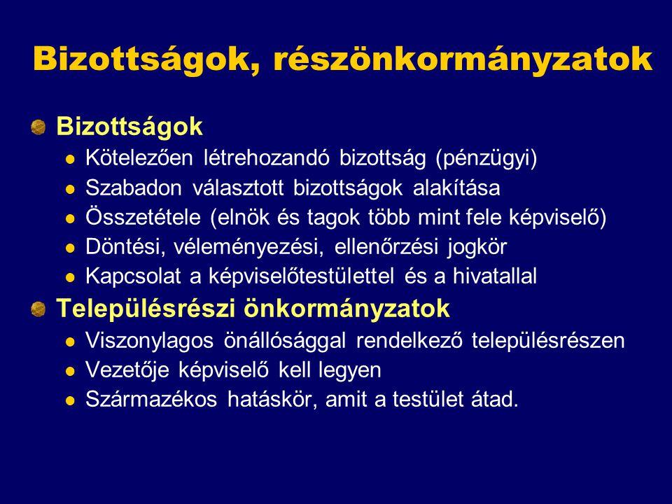 Bizottságok, részönkormányzatok