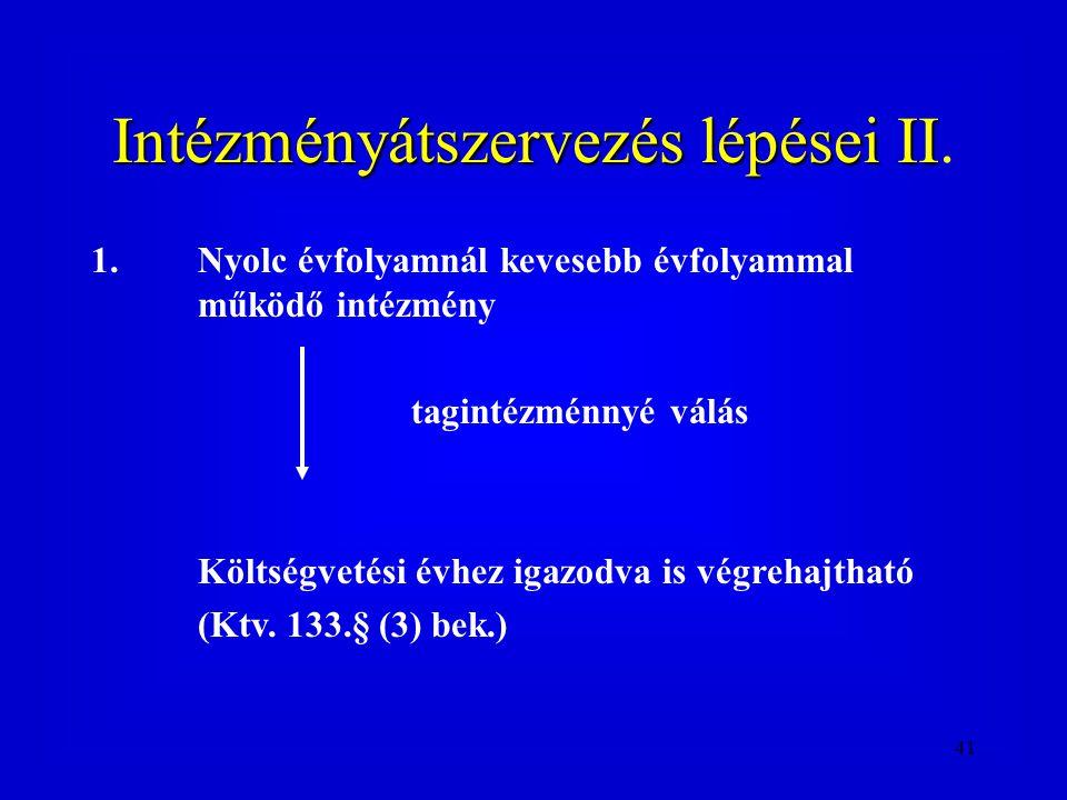 Intézményátszervezés lépései II.