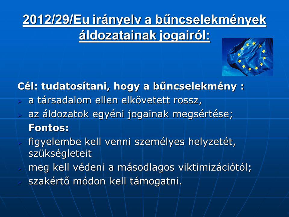 2012/29/Eu irányelv a bűncselekmények áldozatainak jogairól: