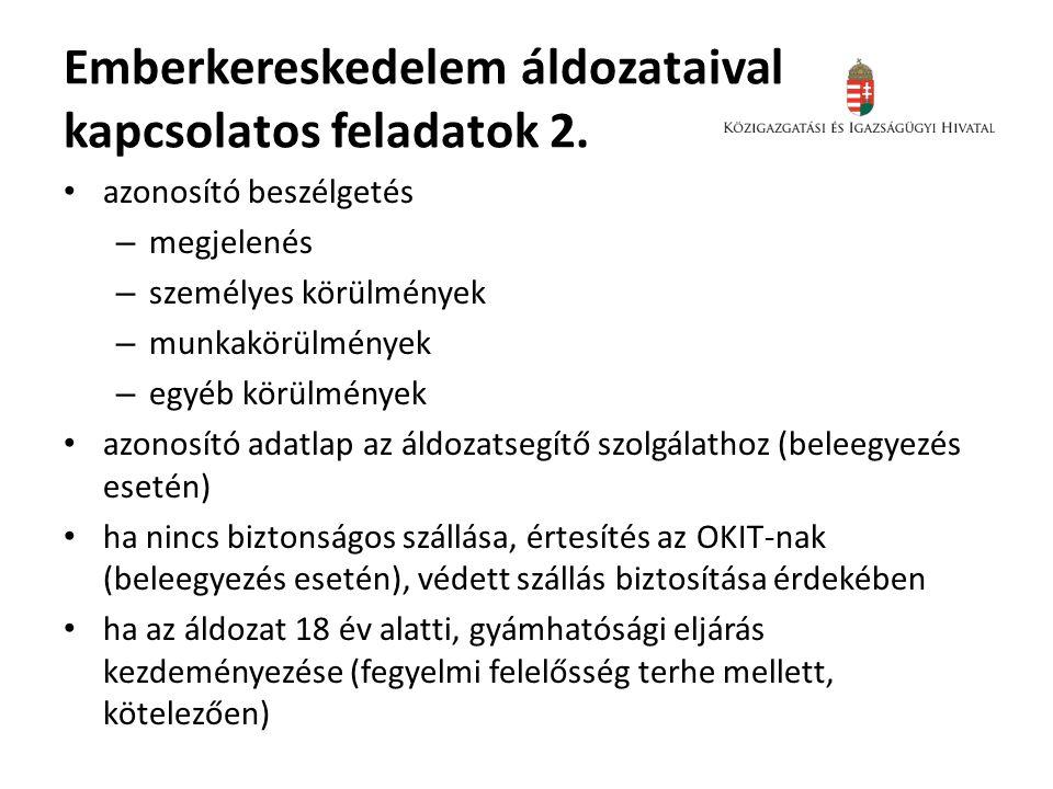 Emberkereskedelem áldozataival kapcsolatos feladatok 2.
