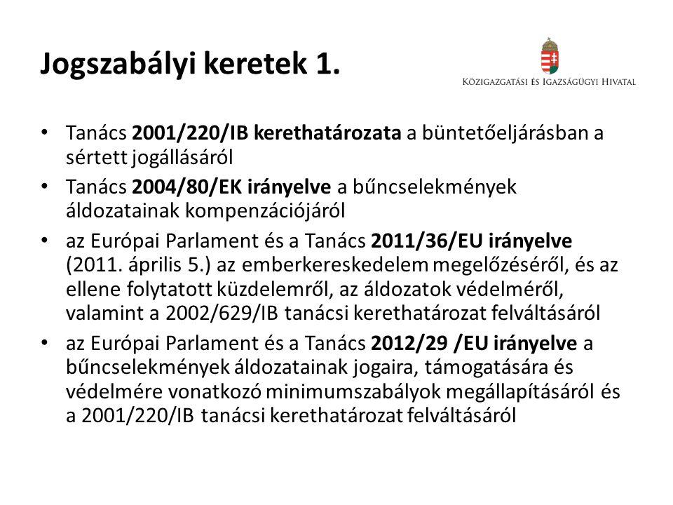 Jogszabályi keretek 1. Tanács 2001/220/IB kerethatározata a büntetőeljárásban a sértett jogállásáról.