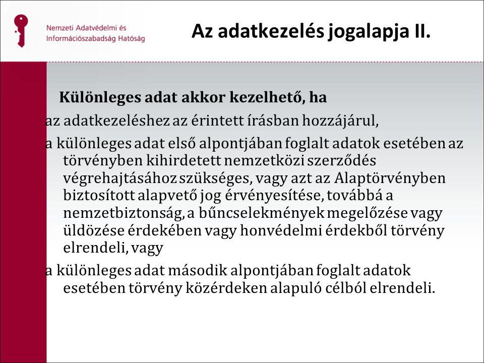 Az adatkezelés jogalapja II.