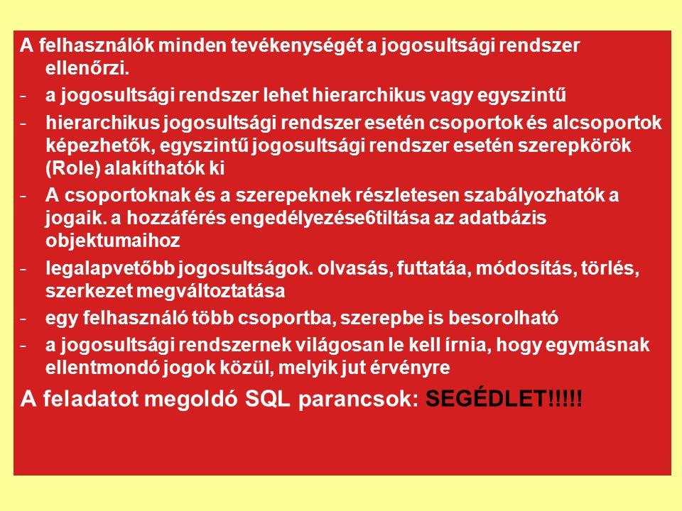 A feladatot megoldó SQL parancsok: SEGÉDLET!!!!!