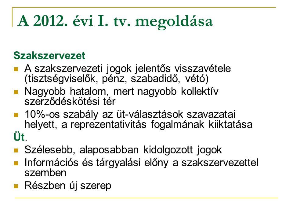 A 2012. évi I. tv. megoldása Szakszervezet