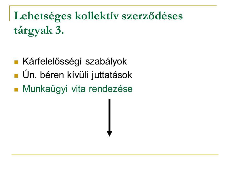 Lehetséges kollektív szerződéses tárgyak 3.