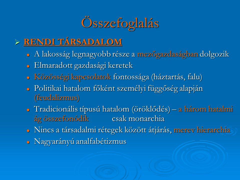 Összefoglalás RENDI TÁRSADALOM