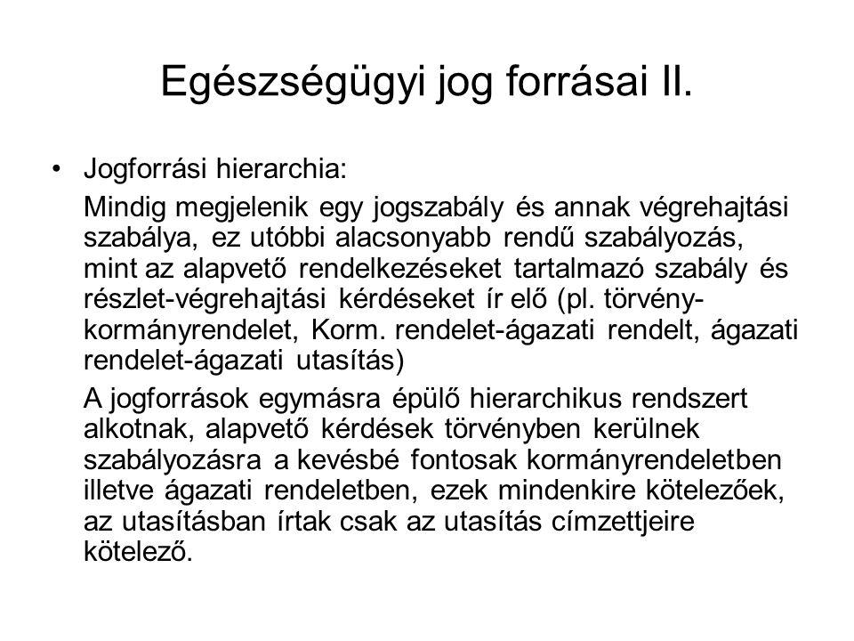 Egészségügyi jog forrásai II.