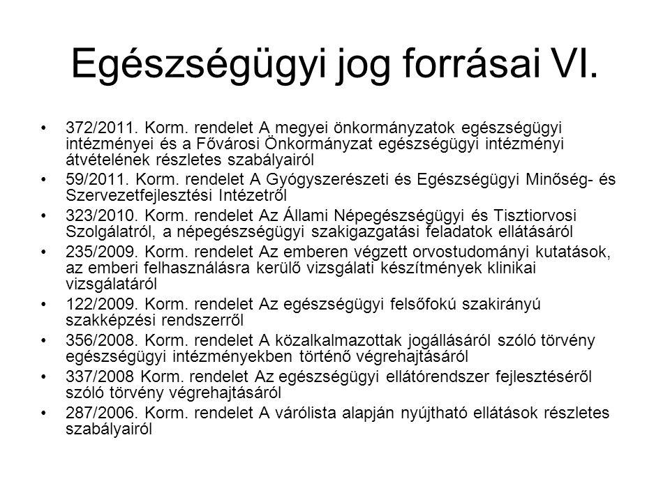 Egészségügyi jog forrásai VI.