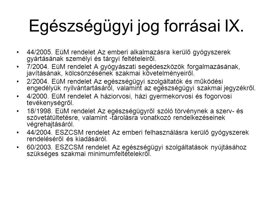 Egészségügyi jog forrásai IX.