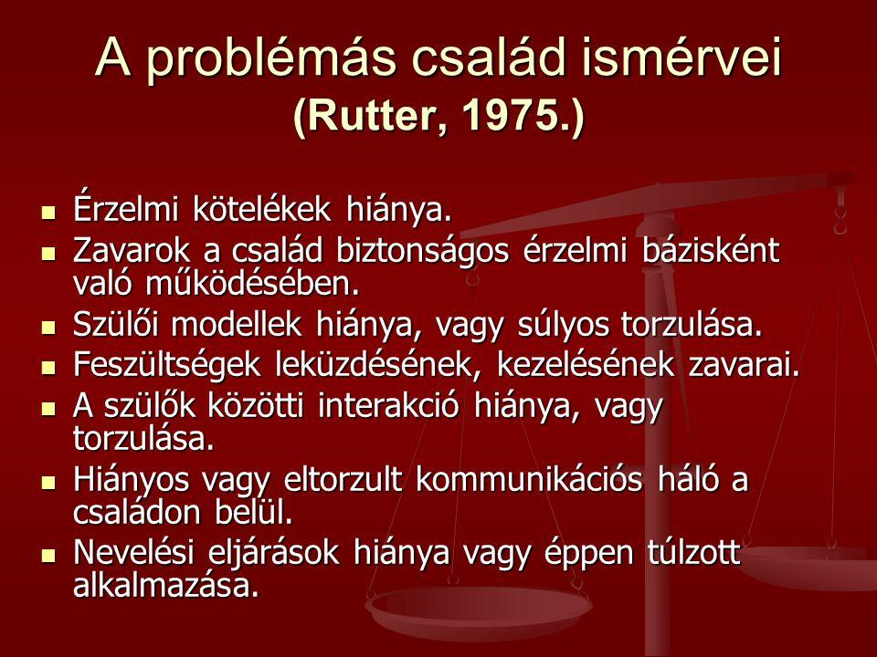 A problémás család ismérvei (Rutter, 1975.)