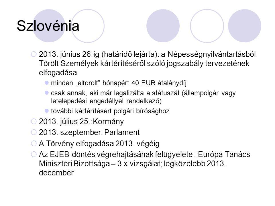 Szlovénia 2013. június 26-ig (határidő lejárta): a Népességnyilvántartásból Törölt Személyek kártérítéséről szóló jogszabály tervezetének elfogadása.