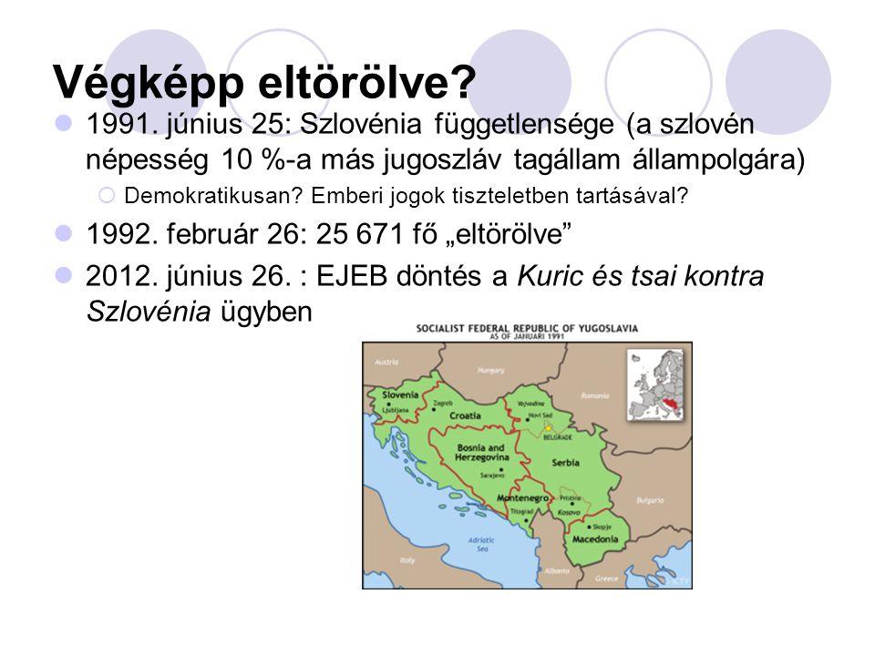Végképp eltörölve 1991. június 25: Szlovénia függetlensége (a szlovén népesség 10 %-a más jugoszláv tagállam állampolgára)