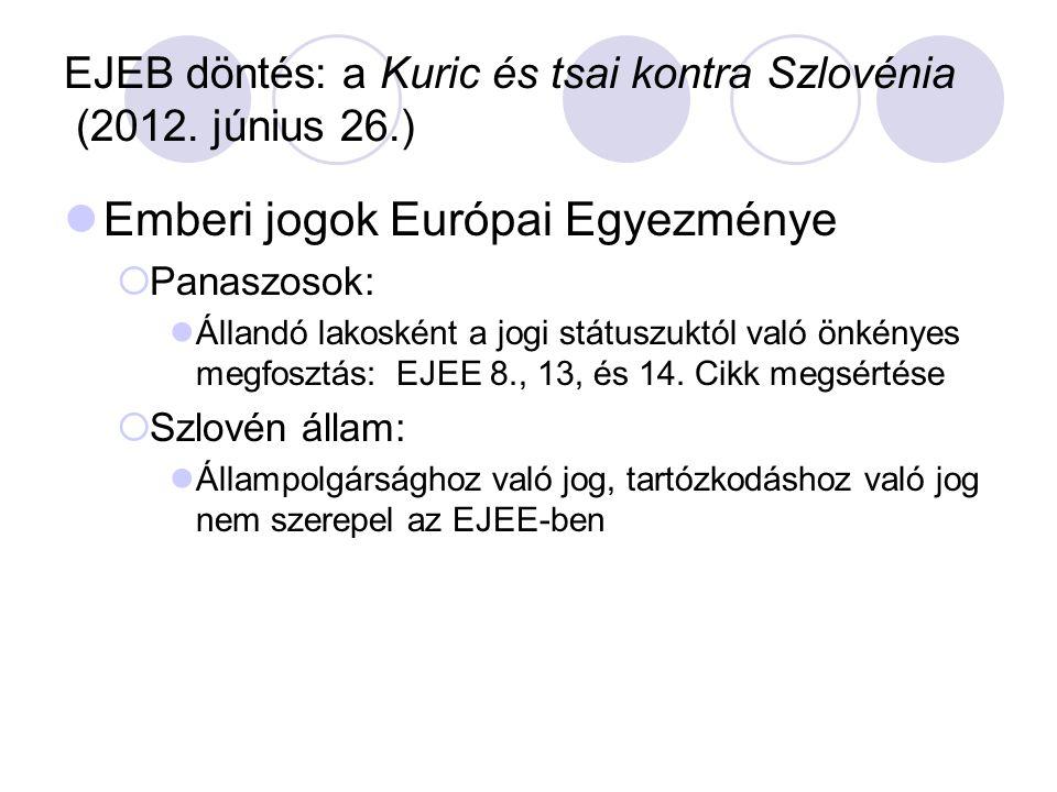 EJEB döntés: a Kuric és tsai kontra Szlovénia (2012. június 26.)