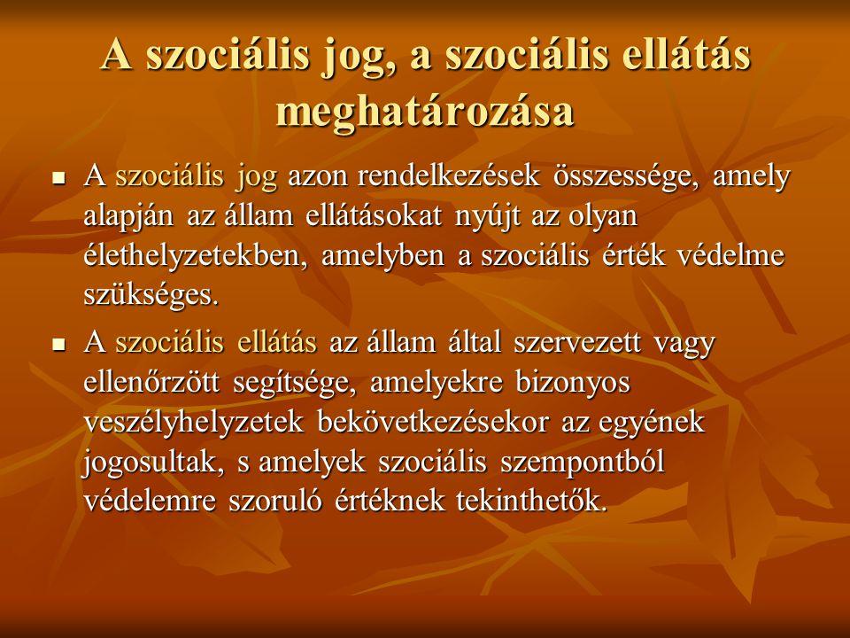 A szociális jog, a szociális ellátás meghatározása