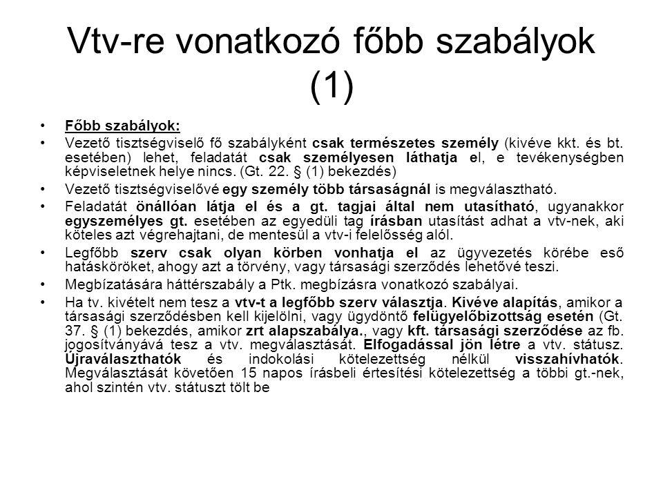 Vtv-re vonatkozó főbb szabályok (1)