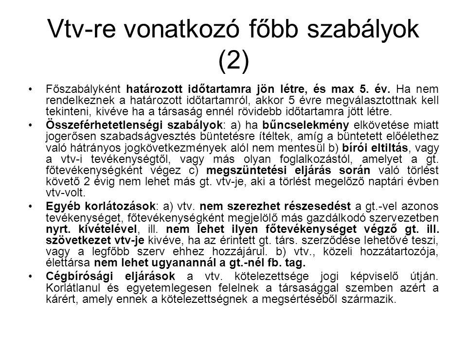 Vtv-re vonatkozó főbb szabályok (2)