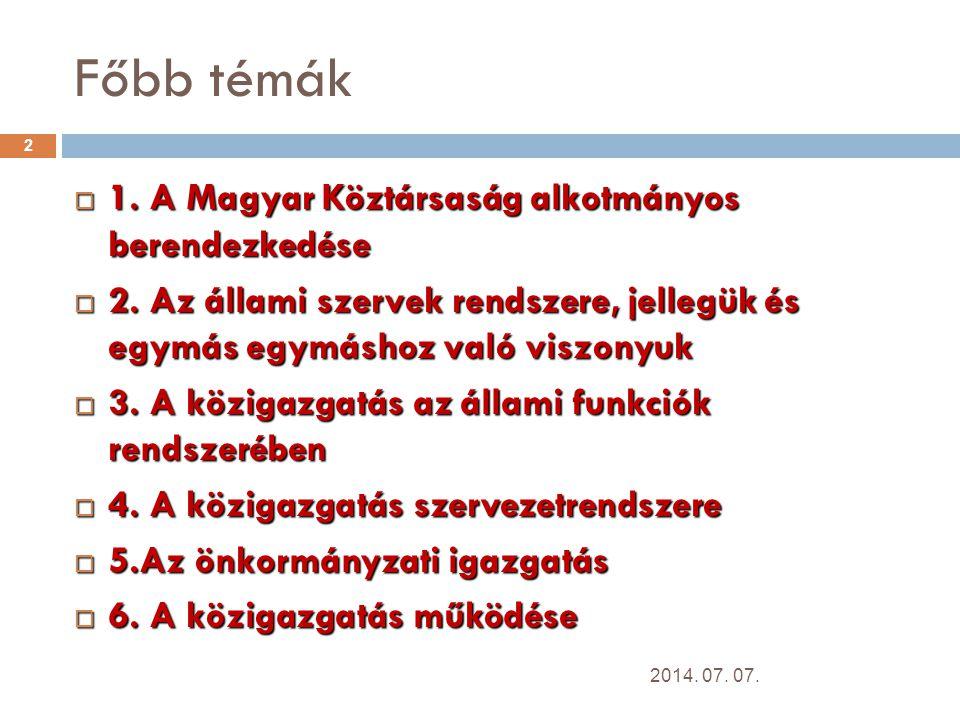 Főbb témák 1. A Magyar Köztársaság alkotmányos berendezkedése