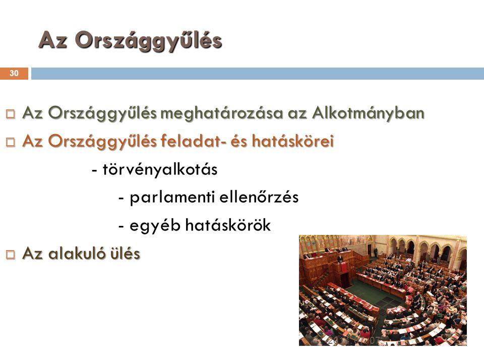 Az Országgyűlés Az Országgyűlés meghatározása az Alkotmányban