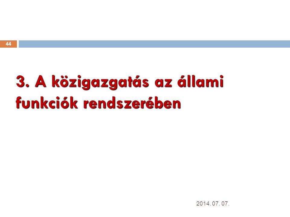 3. A közigazgatás az állami funkciók rendszerében