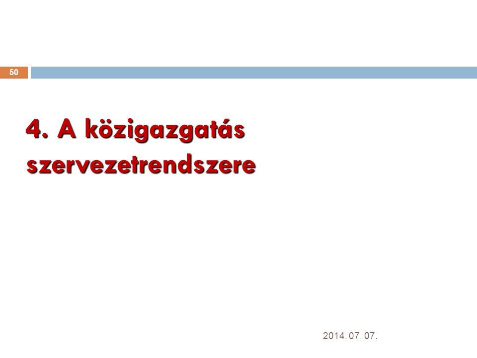 4. A közigazgatás szervezetrendszere