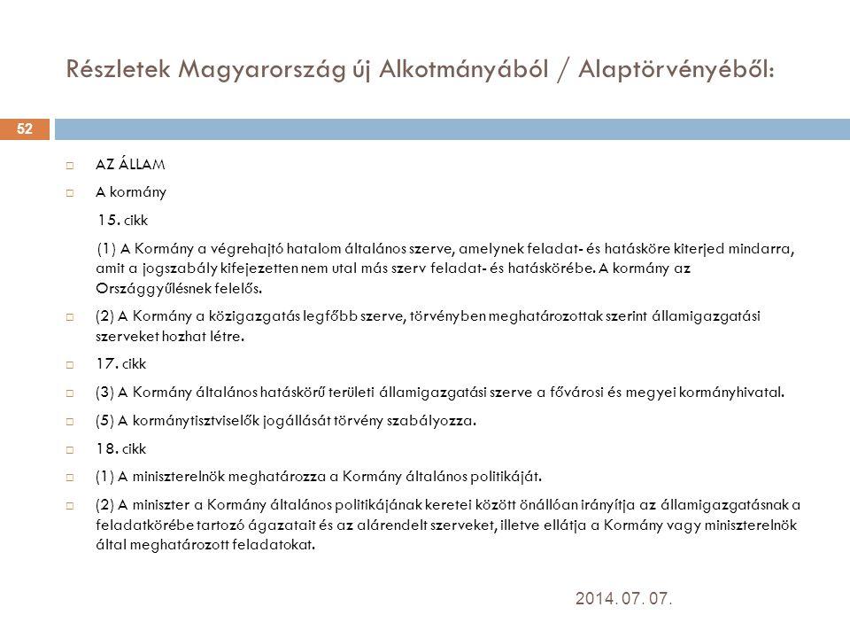 Részletek Magyarország új Alkotmányából / Alaptörvényéből: