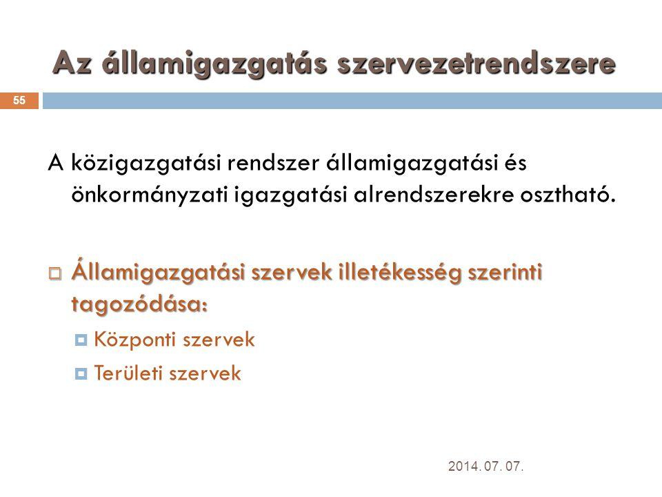 Az államigazgatás szervezetrendszere