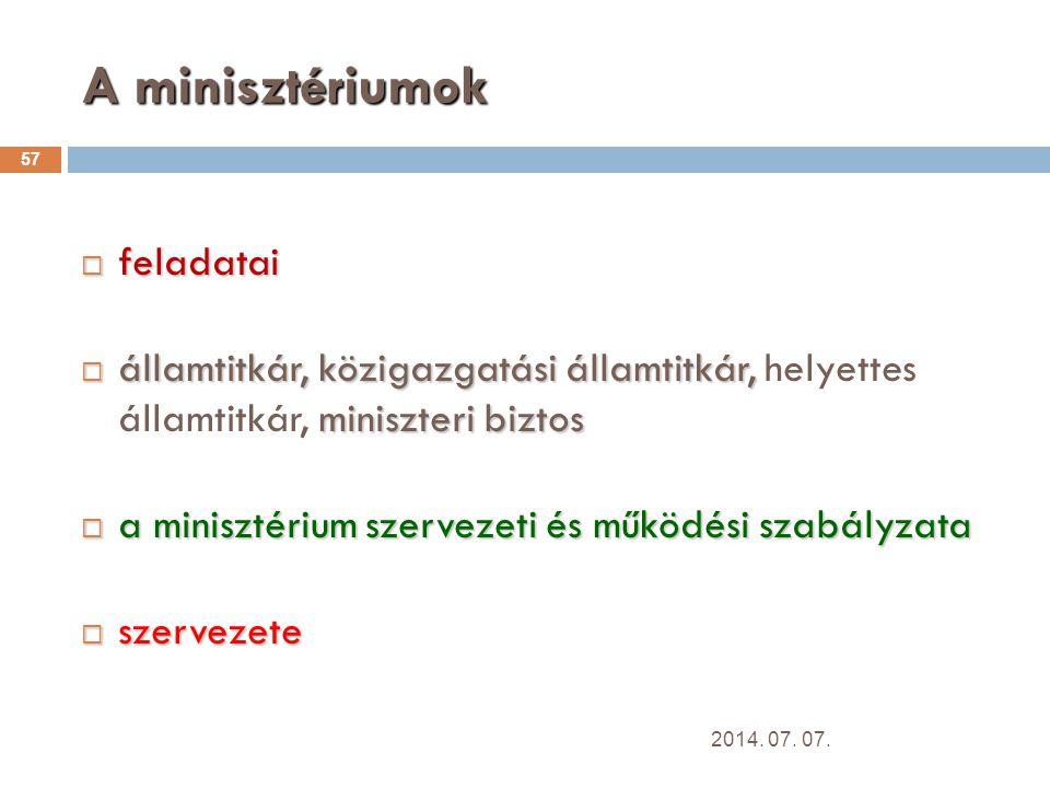 A minisztériumok feladatai