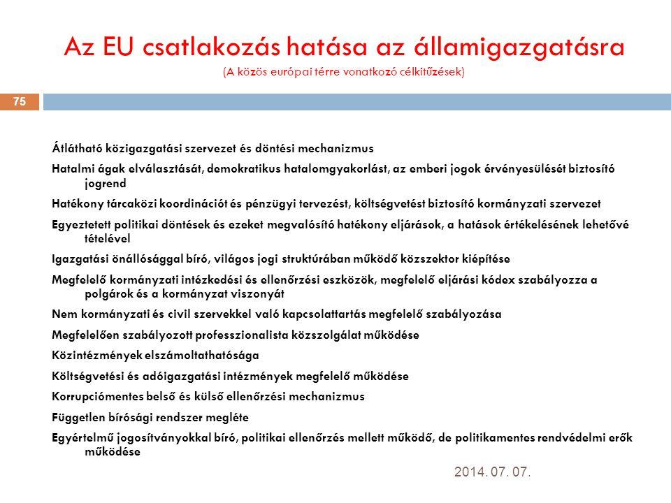 Az EU csatlakozás hatása az államigazgatásra (A közös európai térre vonatkozó célkitűzések)