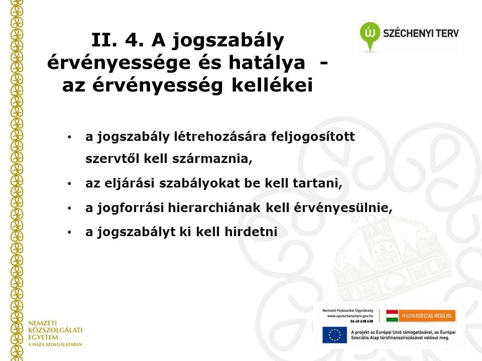 II. 4. A jogszabály érvényessége és hatálya - az érvényesség kellékei