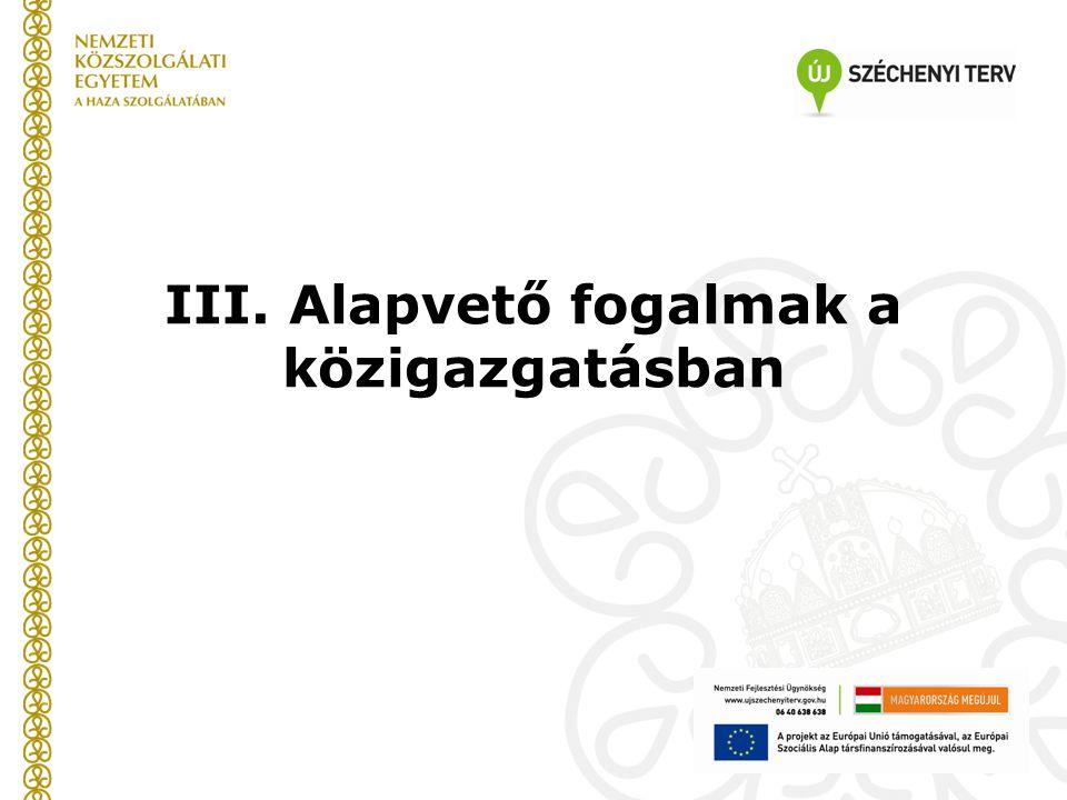 III. Alapvető fogalmak a közigazgatásban