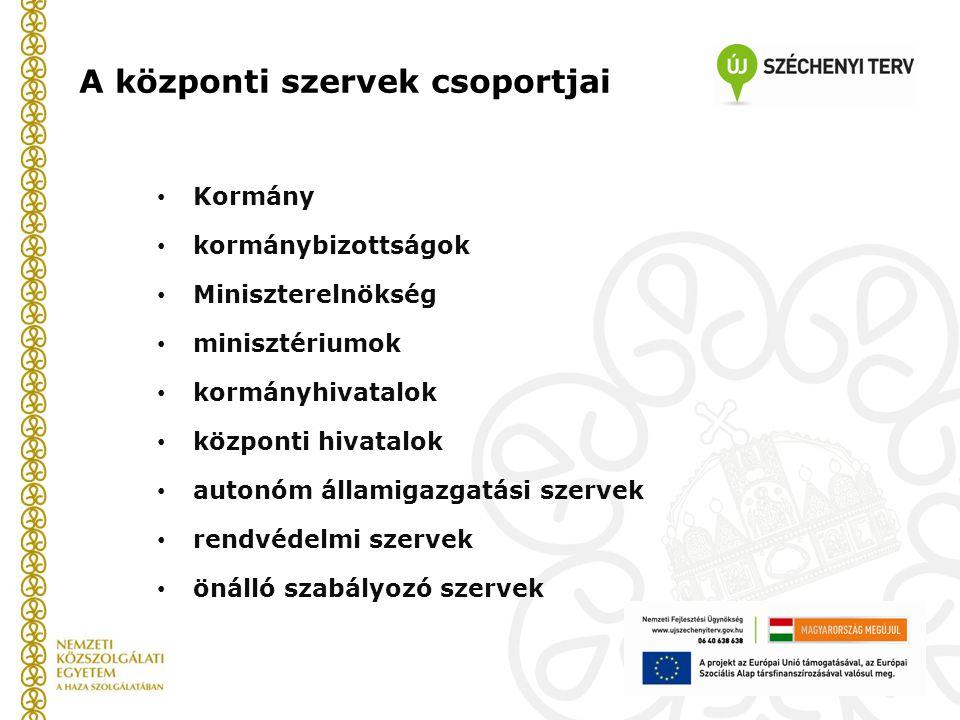 A központi szervek csoportjai