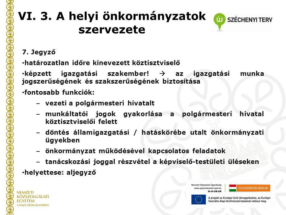 VI. 3. A helyi önkormányzatok szervezete