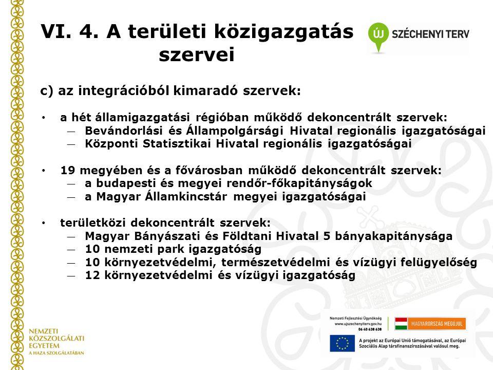 VI. 4. A területi közigazgatás szervei
