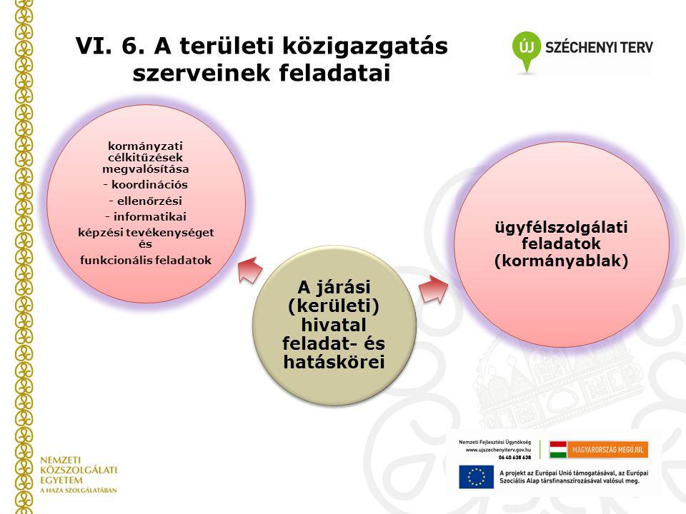 VI. 6. A területi közigazgatás szerveinek feladatai