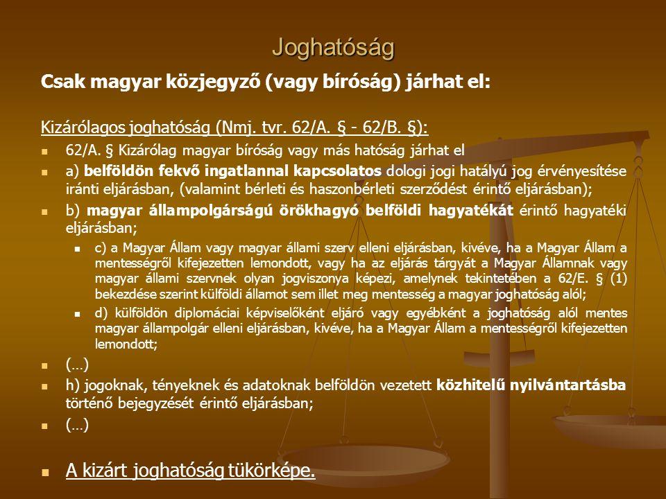 Joghatóság Csak magyar közjegyző (vagy bíróság) járhat el: