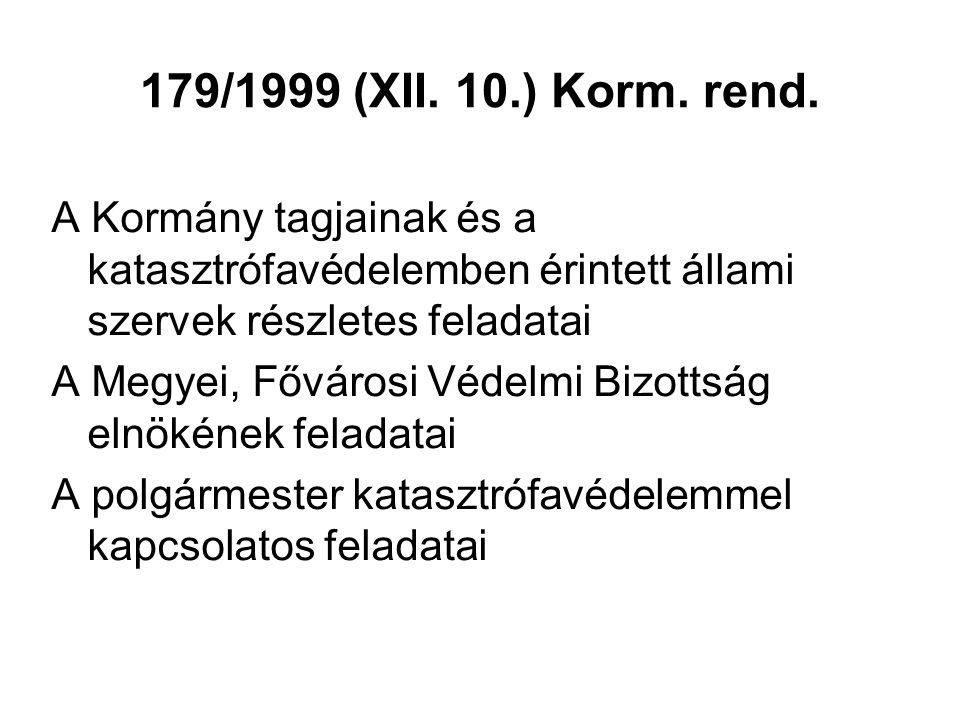 179/1999 (XII. 10.) Korm. rend. A Kormány tagjainak és a katasztrófavédelemben érintett állami szervek részletes feladatai.